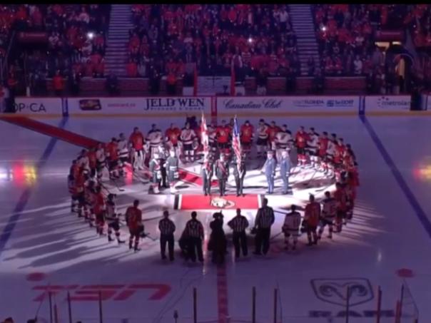 Senators pregame after Ottawa tragedy