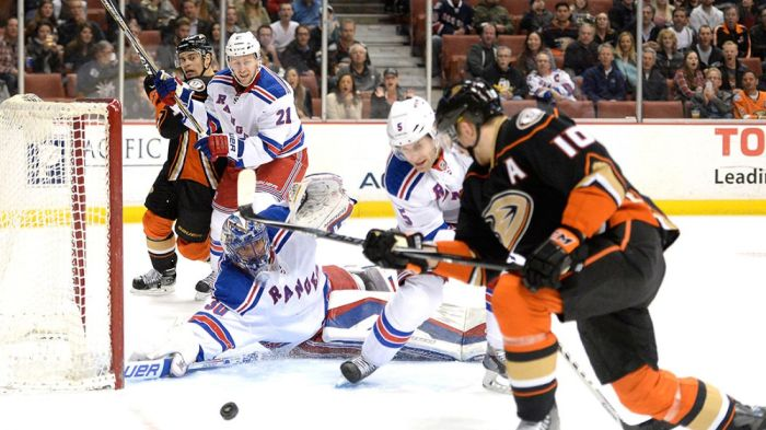 rangers vs ducks 1-7