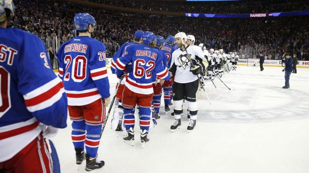 rangers vs penguins handshake line 2 4-24
