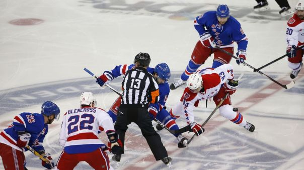 Rangers vs capitals Game 2 faceoff 5-2