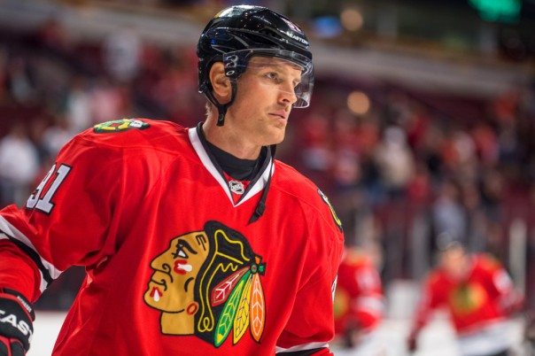 23 September 2014: Chicago Blackhawks center Brad Richards (91) in action during a preseason game between the Chicago Blackhawks and the Detroit Red Wings at the United Center, in Chicago, IL.