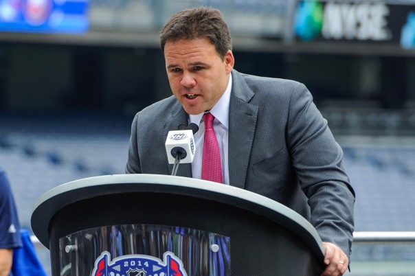 New York Rangers Assistant General Manager Jeff Gorton speaks at a press conference to announce that two outdoor regular-season NHL games will be played at Yankee Stadium during the 2013-14 season as part of the 2014 Coors Light NHL Stadium Series.