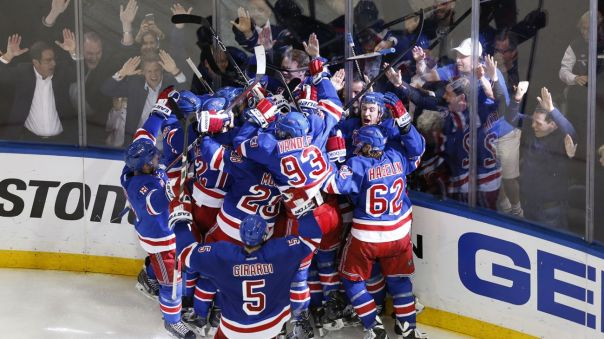 Rangers celebrate Game 7 win 5-13
