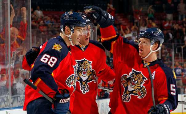 SUNRISE, FL - MARCH 1: Jaromir Jagr #68 of the Florida Panthers celebrates his goal with teammates Aaron Ekblad #5 and Brian Campbell #51 the Tampa Bay Lightning at the BB&T Center on March 1, 2015 in Sunrise, Florida. (Photo by Eliot J. Schechter/NHLI via Getty Images)