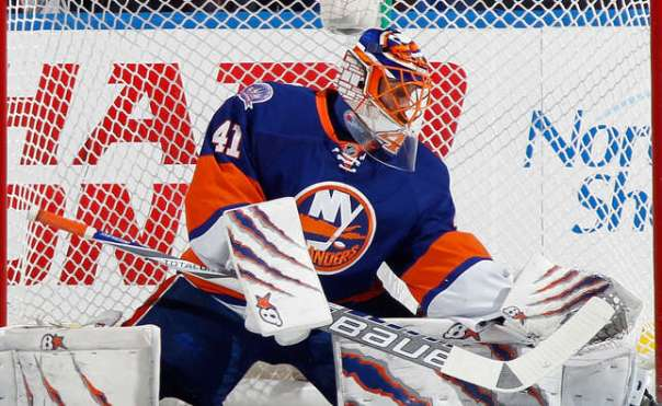 UNIONDALE, NY - NOVEMBER 24: Jaroslav Halak #41 of the New York Islanders makes the second period save against the Philadelphia Flyers at the Nassau Veterans Memorial Coliseum on November 24, 2014 in Uniondale, New York. (Photo by Bruce Bennett/Getty Images)