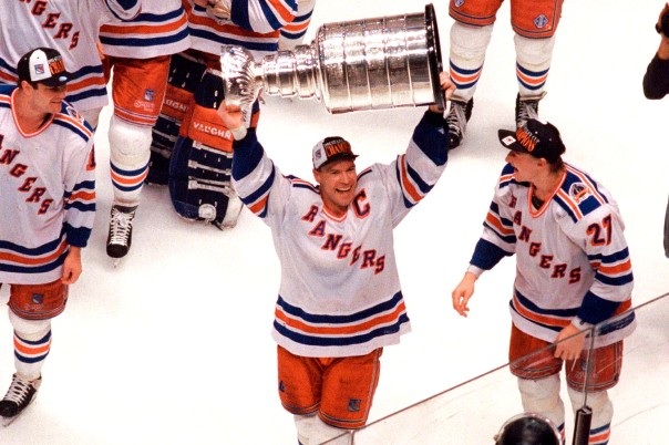 6/14/94 Rangers v. Canucks Mark Messier holds the Stanley Cup after the Rangers win the NHL Championship.