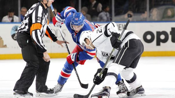 rangers vs kings faceoff 2-12