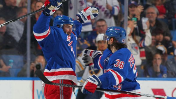 derick brassard and mats zuccarello celebrate 3-8